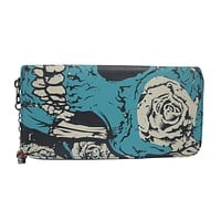 Rockabilly Sacred Skull Metal Goth Blue Flower Skull Zip Around Wallet