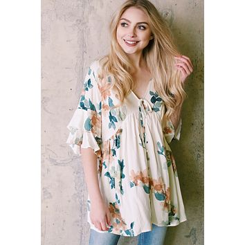 Ruthie Floral Babydoll Top, Ivory