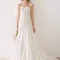 Tulle and Lace Gown with Overlay A-line Skirt - David's Bridal - mobile