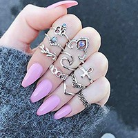 Setita 10 Pieces Stylish Turquoise Joint Knuckle Nail Midi Ring Set Boho Ring Set