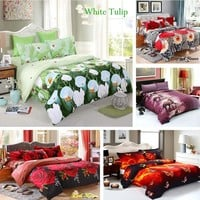 New Arrival Comfortable 4pcs 3D Printed Bedding Set Bedclothes White Tulip on Green Background Queen Size Duvet Cover+Bed Sheet+