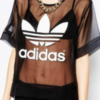 Adidas Originals Sheer Woven T-Shirt With Trefoil