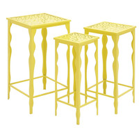 Benzara The Funky Set of 3 Metal Plant Stand