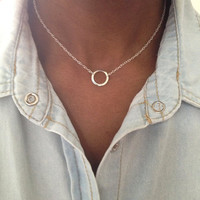 Silver Eternity Necklace Circle Necklace Hammered Necklace UK Shop valentines gift