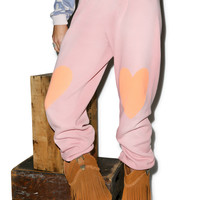 Wildfox Couture Heart Easy Sweats Dirty Coral Paint