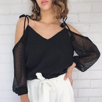 Long Sleeve Summer Ladies Sexy Strapless See Through Lace Tassels T-shirts [11853605903]