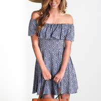 Marisa Paisley Off-The-Shoulder Dress