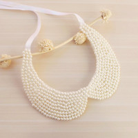 Ivory Pearl Collar Necklace, Peter Pan Collar Necklace, Handsewn