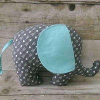 Arrow baby elephant plushie - gray aqua / blue arrow baby boy nursery decor - elephant stuffed animal - baby boy toy gift