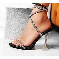 Women Rhinestone Ankle Strap Clear High Heel Sandals