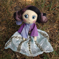 Reserved for Chiara, Mini doll Bohemian artdoll turquoise and violet dressed, needleflet art