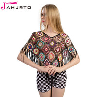 Jahurto Colorful Color Block Cape Women Fashion Hollow Out Crochet Knitted Triangle Fringe Ponchos And Capes Spring Sweater