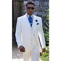 2017 White Custom Made Linen Suit Sharp Look Tailored Groom Suit Bespoke Mens Suits For Wedding Tuxedos (Jacket+Pant+Vest+Tie)