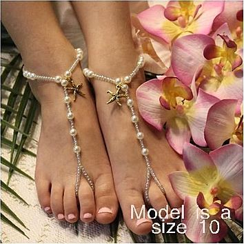 KEY WEST flower girl starfish barefoot sandals - gold