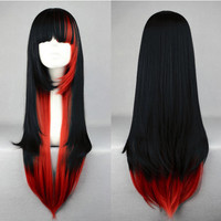 Red and Black Ombre Wig, Cosplay, Anime Wig, Long Wavy Wig with Bangs, Gothic Fashion