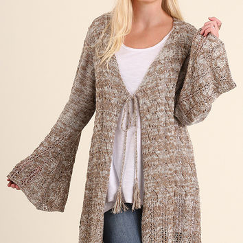 Mila Knit Sweater Cardigan with Tassel Tie Front (Pre-Order)