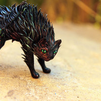 MADE TO ORDER Black cat figurine kitty totem miniature figure art decor, animal sculpture cute kawaii, ornament, cute cat