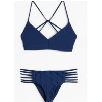 Sexy backless polyline cross dark blue two piece bikini