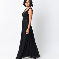 Black Chiffon Belted Draped Grecian Gown