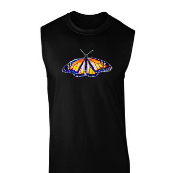TooLoud Watercolor Monarch Butterfly Dark Muscle Shirt
