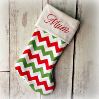 PERSONALISED CHRISTMAS STOCKING - Red, Green, White Chevrons - You Choose The Font  & Embroidery Colour - Customised To Your Preference