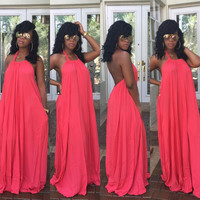 Pink Halter Backless Maxi Dress