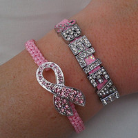 Breast Cancer Awareness Love, Hope, Believe or Faith Pink Ribbon Charm Bracelet and Woven Rhinestone Pink Ribbon Bracelet