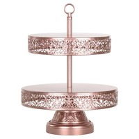 2-Tier Reversible Dessert Cupcake Stand (Rose Gold)