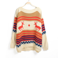 Nordic round neck reindeer pattern sweater- Ships FREE!  from ClothLess