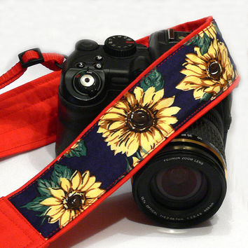 Sunflowers Camera Strap. Yellow Blue Green and Red Camera Strap. Canon Nikon Camera Strap. Photo Camera Accessories