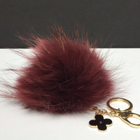 Fur Pom Pom keychain luxury bag charm pendant clover flower keychain keyring in red vine with natural tips