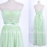 Strapless Sweetheart Long Mint Chiffon Bridesmaid Dresses, Prom Dresses, Mint Evening Gown, Wedding Party Dresses, Bridesmaid Dresses