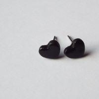 Tiny Black Heart Stud Clay Earrings