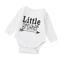 "Unisex Long-Sleeve ""Letter Brother"" Printed Onsie"