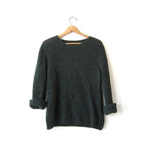 vintage army green sweater. loose knit pullover sweater. textured knit sweater. woven knit sweater.