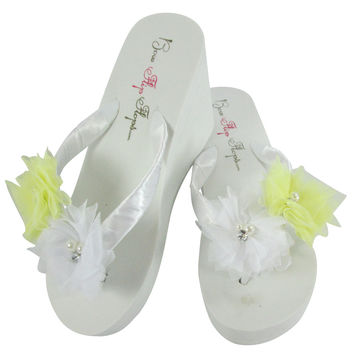 Bridesmaid & Bride Flip Flops with Yellow & White Flowers
