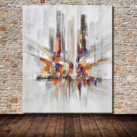 Mintura Art Hand Painted City Landscape Oil Painting On Canvas Pop Art Modern Abstract Wall Picture For Wall Decoration No Frame