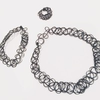 Tattoo Ring, Bracelet, and Necklace Set