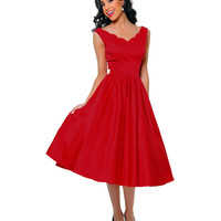 QUEEN OF HEARTZ 1950's Style Red Cotton Sateen Scallop Brenda Swing Dress - Unique Vintage - Cocktail, Pinup, Holiday & Prom Dresses.