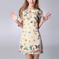 Summer Sexy Women's Crewneck Floral Butterfly Lace Causal  Short Mini Party Dress  Hot Sale