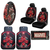 Licensed Official New DeadPool Car Truck Front Seat Covers Floor Mats Steering Wheel Cover Set