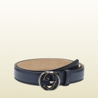Gucci - leather belt with interlocking G buckle 336829AP00R4009