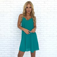 Summer Binge Shift Dress In Emerald
