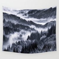 Misty Forest Mountains Wall Tapestry by 2sweet4words Designs