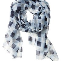 Banana Republic Factory Sheer Plaid Scarf Size One Size - True navy