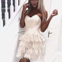 Pearl Pink Strapless Short Homecoming Dresses With Ostrich Feather