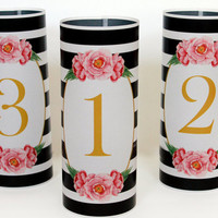 Table numbers set of 20 wedding table number luminaries pink and black wedding luminary table numbers reception wedding decor candle wraps