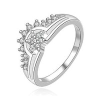 ZLYC Woman Lady Gilrs Fashion Delicate Alloy Gold Rhinestone Angel Wing Heart Ring Crown
