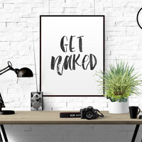 """FUNNY WALL ART """"Get Naked"""" Bathroom Funny Rules Poster Printable Bathroom Print Large Quote Art Square Print Black and White Bathroom Quote"""