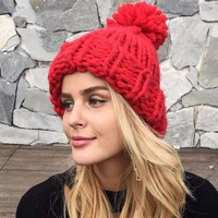 Cute Knitted Winter Beanies With Pom
